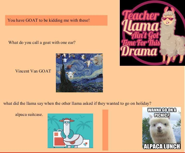 Page with orange background, pictures of goats and drama llamas and jokes in text.