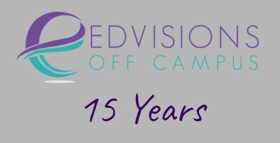 EdVIsions Off Campus logo with text: 15 years.