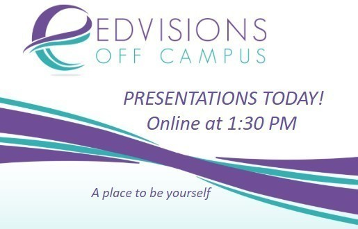Advertisement that states: Presentations today online at 1:30 PM