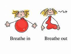 A person with a balloon body breathing in and out.