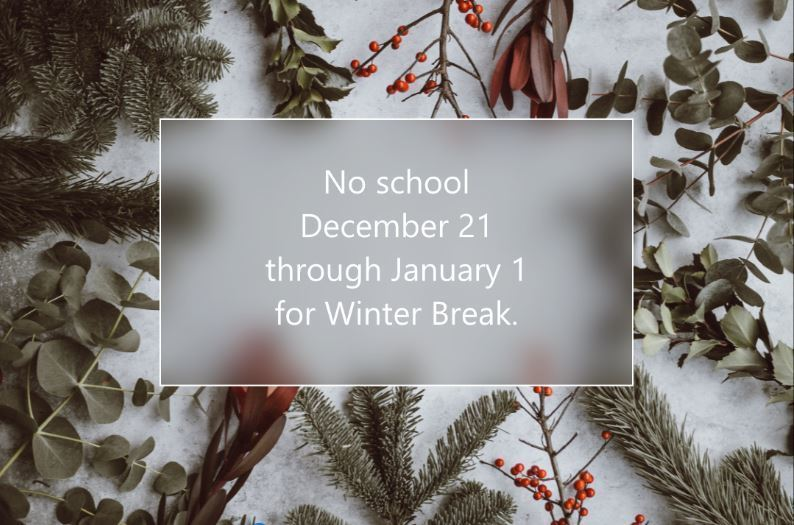 Image of evergreen plants with text that says No school December 21 through January 1 for Winter Break.