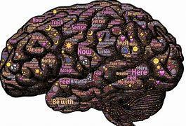 Brain with many colored words on it