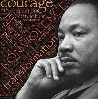 image of Martin Luther King, Jr. with text that reads non-violence, justice, dignity, transformation, courage, conviction, mindfulness, peace, and more.