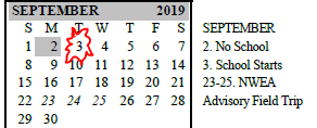 Calendar with September 3 circled