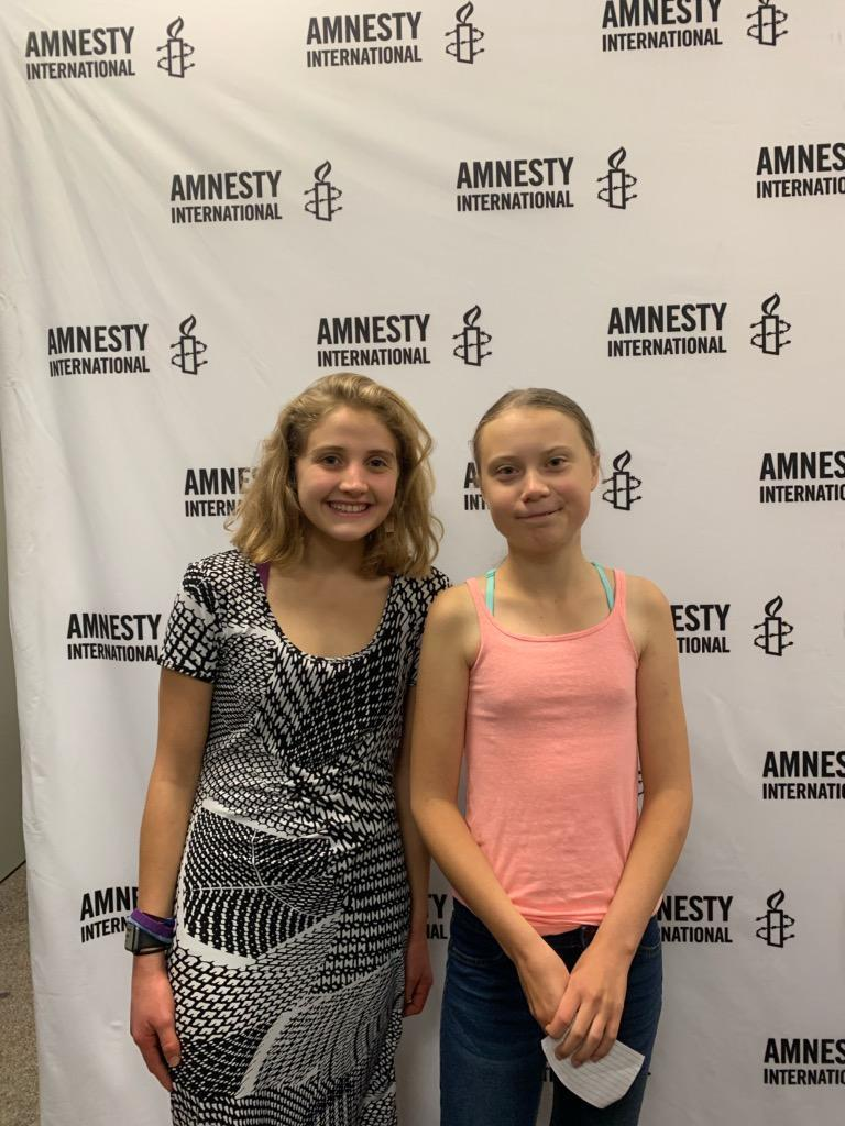 Student Anna Grace with activist Greta Thurnberg