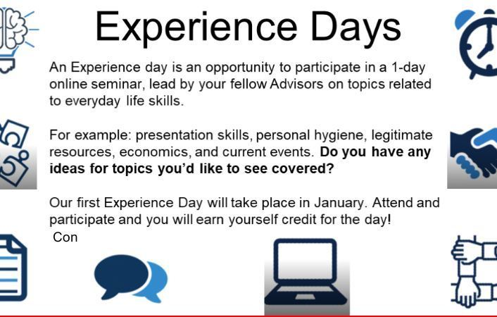 Board for all school meeting announcing experience days