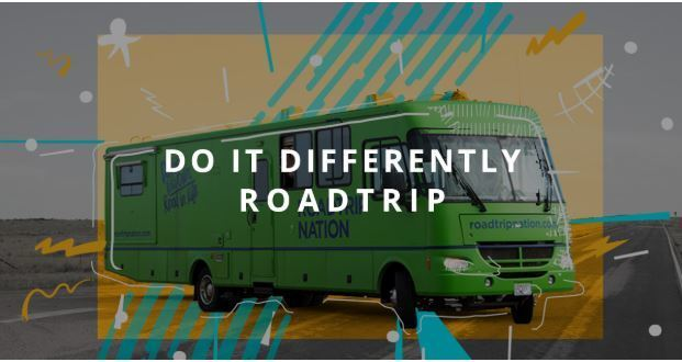 Do it differently roadtrip advertisement photo with green RV