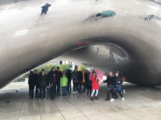 Students at the bean in Chicago.