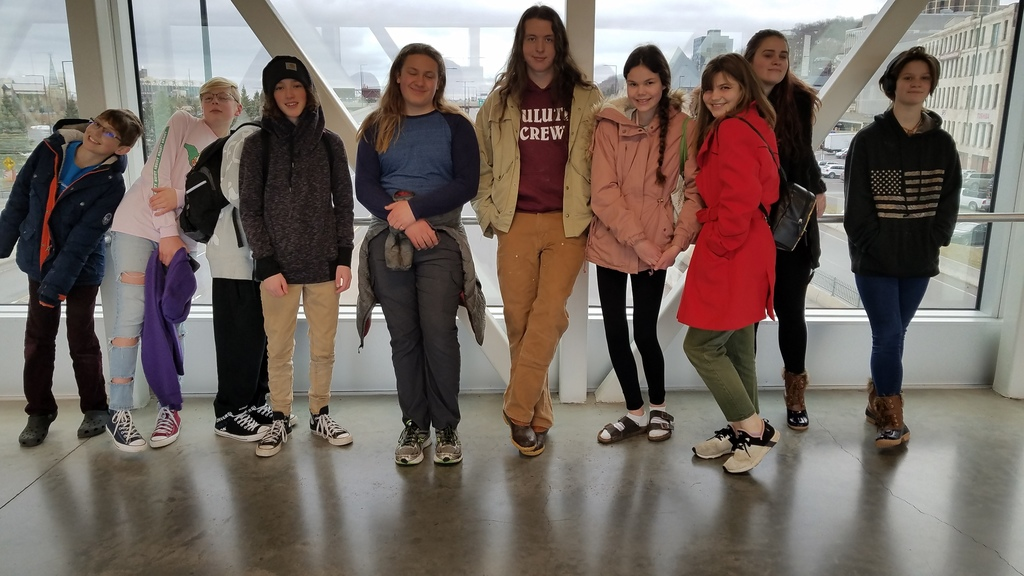 Students on the Skywalk over Interstate 35