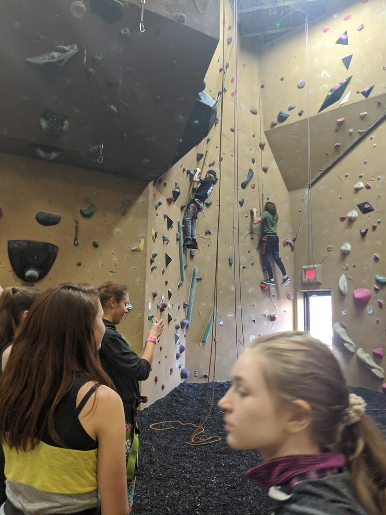 Students climbing a rock wall