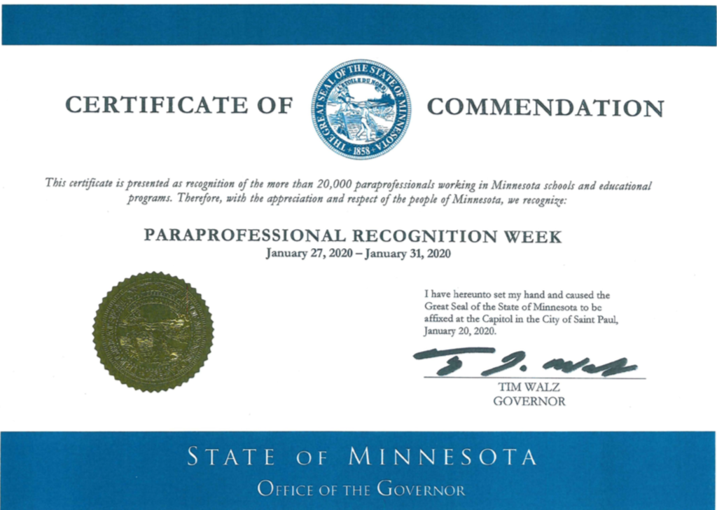 Seal of recognition from the Governor of Minnesota
