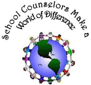 IMage of a globe and student joining hands that reads :School Counselors Make a World of Difference""