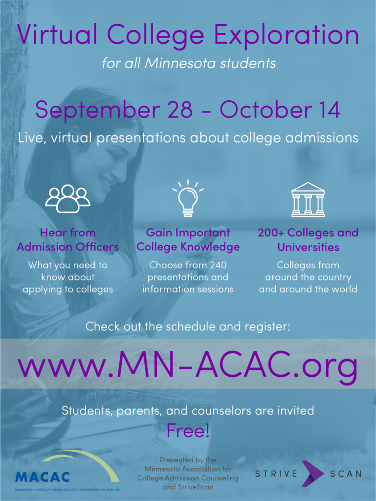 poster advertising online college tours, 240 sessions and presentations